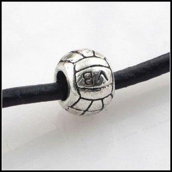 Latest Design!!! 90pcs/lot Alloy Volleyball European Bead Big Hole Fit Charms Bracelet 11x11x8mm Hole Dia.:5mm 150227