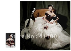 Burgundy White Organza Floor-Length Victorian Princess BALL GOWN Marie Antoinette Gothic Wedding Dress(China (Mainland))