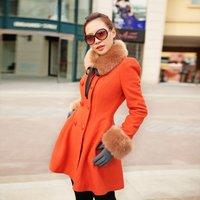 new winter medium-long orange woolen outerwear skirt wool coat Wool Blends Coat Women's fashion overcoat