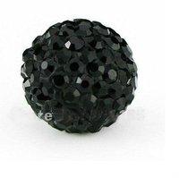 Hot sale 50PCS Wholesale Black Shamballa Beads 10MM Black Micro Pave CZ Crystal Disco Ball Beads