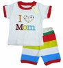PS162, I Love Mom, 2012 Free Shipping, Wholesale Baby/Children 100% Cotton Rib short sleeve pajamas/sleepwear sets for 2-7 year.