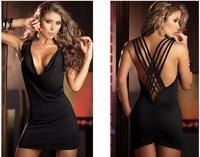 freeshipping Women's Open String Back Tank Style Black Mini Dress V Neck Wild Hip Party Dress Nightclub Sexy Dresses