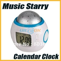 New Music Starry Star Sky Projection Alarm Clock Calendar Thermometer freeshipping