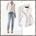 Punk Motorcycle Style Zipper Linen Women Vest Jacket 8573