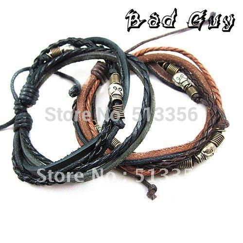 sl271 PU leather string bracelet men high quality vintage lovely skull charm bracelets fashion jewelry wholesale
