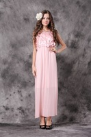 free shipping!2012 latest women fashion long dresses,appliques pleated dress