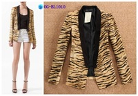 Free shipping  American and European style 2014 tiger pattern jacket suits women slip-on blazer/ coat 1color S M L