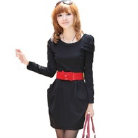 Black/brown long sleeves new korea clothes styles,woman fashion clothes,dress women free shipping JT8217A
