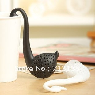 Free shipping, 10pcs/lot, creative littel swan plastic tea spoon of tea device, drop shipping