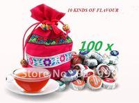Organic Pu'Er Ripe and Raw pu-er tuocha Do promotion freeshipping 10 kinds Flavor  yunnan Puer tea Chinese tea 100pcs/ 450g