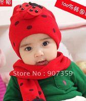 Baby boy girl Beetle cap+scarf baby ladybug knit winter caps ladybird kids Hat toddler hats scarves 10pcs/lot
