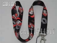 Brand New black  Betty Boop keychain lanyard cartoon neck strap for ID,badge,Mp3 holders+Free shipping