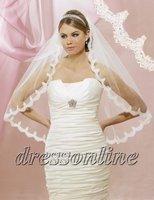 Elegant White Ivory Short 1 Layer Lace Bridal Veils Wedding Dress Veils Free Shipping