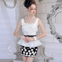 2012  summer White  lace decoration ruffle spaghetti strap beautiful vest women vests size S-XL FREE SHIPPING