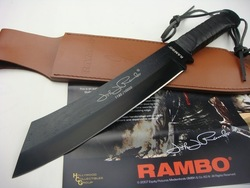 RAMBO - The Standard Version Rambo 4 Hand Sign Straight Knife 57HRC 420J2 Free Shipping (1150g)(China (Mainland))
