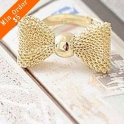 Min.order is $15 (mix order)Free Shipping Korean jewelry gold mesh grid bow adjustable ring(Gold) R255(China (Mainland))