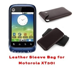 100% Brand new microfiber leather phonesleeve bag for Motorola XT301(screen protector is available)(China (Mainland))