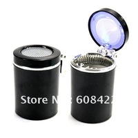 Free shipping Portable Car Auto Cigarette Smokeless Ashtray Holder With LED Light