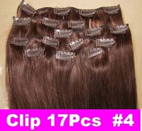 "Brazilian Factory Outlet Price AAA+ 20""-26"" Remy Human Hair Extensions Clips In Extensions 8Pcs 100g #4 Chocolate Brown"