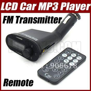 LCD Auto Car Kit MP3 Player Wireless FM Transmitter Modulator USB SD MMC LCD+Remote  #3309