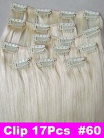 "Brazilian Factory Outlet Price AAA+ 20""-26"" Remy Human Hair Extensions Clips In Extensions 8Pcs 100g #60 Platinum Blonde"