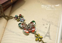 DHL Free shipping 130PCS/LOT Wholesale Fashion Enamel Butterfly Over Colorful Flowers Vintage Necklace Coat Chain Jewelry 2994