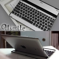 Aluminum Alloy Bluetooth wireless keyboard for Apple ipad 2/3/4 ultra thin stand case accessories free shipping