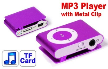 30pcs/lot wholesale high quality Mini Clip MP3 Player with TF card slot  in crystal retail box
