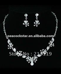 Bridal Wedding Party Quality Vintage Style Crystal Necklace Earrings Set CS1185(Hong Kong)