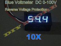 10pcs Digital Voltage Panel Mount Voltmeter 0-100V Blue LED Car Battery Power Monitor+free shipping -10000532