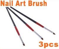 3 pcs Black + Red Nail Art Brush Set, HB4570 Free Shipping 5sets/lot,