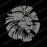 Free Shipping 30pcs/Lot  Custom Design Available Bling Lion Head Hotfix Rhinestone Transfers Iron On Motif