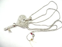 Fashionable necklace with key pendant , decorated with rhinestone, looks fancy/elegant, available in various colors