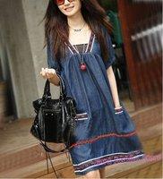 Free Ship Summer New Loose Cotton Short Sleeve Denim Jean Dress,Vintage Casual Embroidery Dresses Plus Size L/XL/2XL/3XL/4XL/5XL