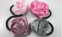 Candy Color Rose Flower Elastic Girl Hair Tie Bands Silk Cloth Headband Headdress Flower