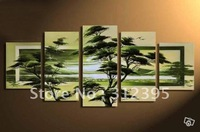 Handicrafts canvas painting Spring green forest bird Abstract Oil Painting