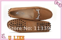 free shippment best quality light tan luxurious flats buckle suede  leisure leather shoes  for women