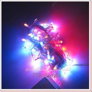 Free Shipping 4 PCS/Lot Holiday lights 10M 100 LED String Multi-color Xmas Part Wedding Festive Night Lights 220V B10009