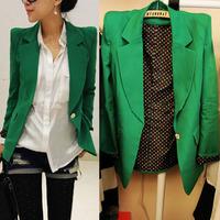 Free shipping summer small suit jacket female medium-long slim one button polka dot ,blazers for women,blazer