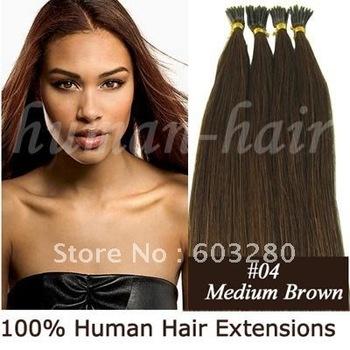 "16""18""20""22""24"" Keratin stick tip/ I Tip hair extension 0.4g/0.5g/1.0g #4 Medium brown color 100pieces/LOT"
