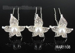 12pcs Immitation Pearl Czech Rhinestone Crystal Wedding Bridal Bridalmaid Prom Flower Hair Pins Free Shipping(China (Mainland))