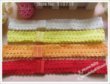 Sample 10 color Lace Elastic Headband Kid's Stroch Hairband Baby Crochet Head band Hair wrap Girls Hair Ornament 30pcs