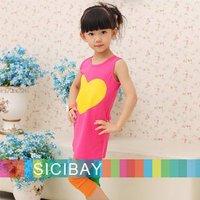 summer kids Yellow Love design pink little girl t shirts children sleeveless Tops girls t-shirt,100% cotton Free Shipping K0059
