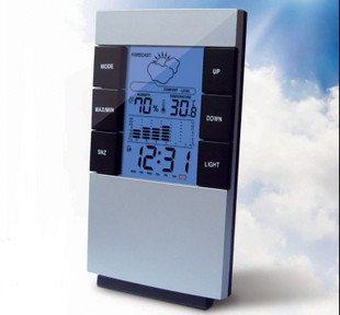 Newest  Weather Station LED digital clock Temperature Alarm Clock retail&wholesale Free shipping HD037