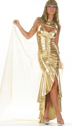 Free shipping,Halloween cleopatra costume Maxi Long Dress yellow(China (Mainland))