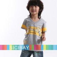 Good-Looking Summer Boys Clothing with cartoon Bear kids V-Neck T-shirts children Print tops, Free Shipping K0093