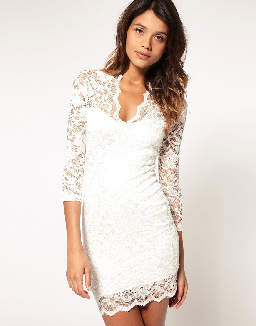 3 quarter sleeve white lace dress