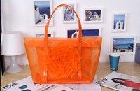 Hot Selling! Korean Style Transparent Twin Handbag Mesh Beach Shoulder Bag +PU Cluth Purse Wallet Orange Rose Flower Decor