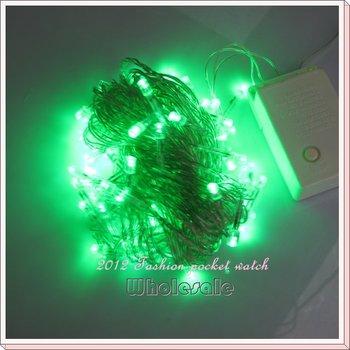 Free Shipping 4 PCS/Lot 10M 100 LED 220V String Green color Xmas Part Wedding Festive Night Lights B10011