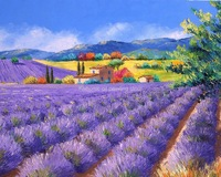 Landscape oil arts-Gifts Jean Marc Janiaczyk lavendar worlds  flowers oil paintings arts on canvas reproduction,scenery oil job